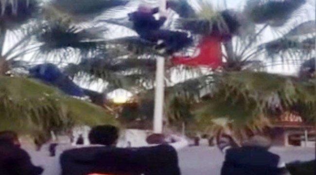 Antalya Otogarı'nda hareketli dakikalar! Türk Bayrağı'nı indirmek isteyince...