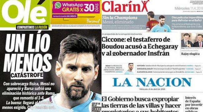 Arjantin basını Barcelona'nın elenmesini kutluyor!