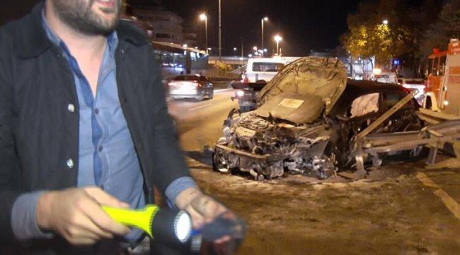 D-100 Karayolu'nda kaza yapan sürücünün ayak parmakları koptu