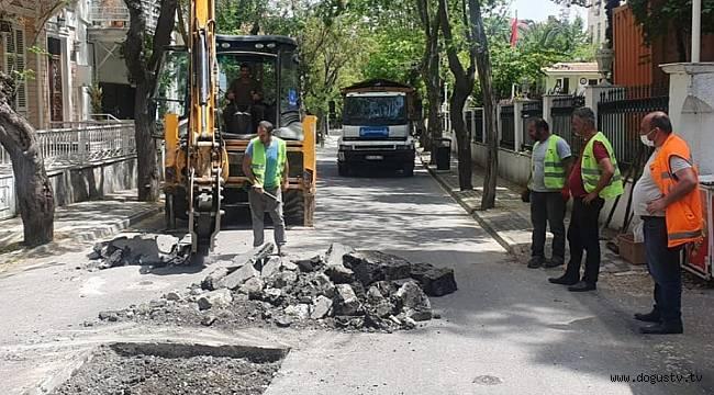 Adalar 'da yol düzenleme çalışmaları aralıksız devam ediyor.