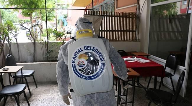 Kartal Belediyesi'nden İlçedeki Kahvehane ve Kıraathanelere Dezenfekte Hizmeti