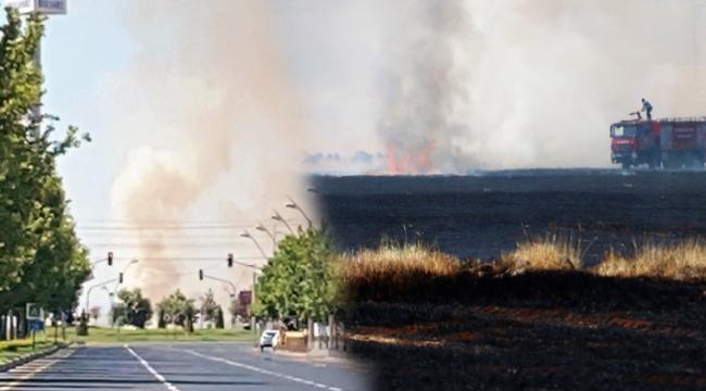 Havalimanının yakınlarında çıkan yangın korkuttu